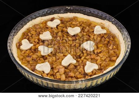 Fresh Baked Apple And Cinnamon Tarte Designed With Hearts.