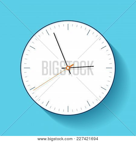 Simple Clock Icon In Flat Style, Minimalistic Timer On Blue Background. Business Watch. Vector Desig
