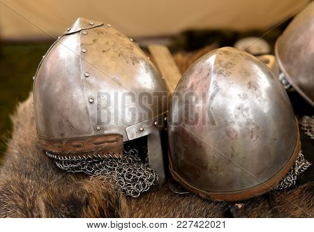 Reconstruction Of Two Medieval Knight Helmets Closeup.