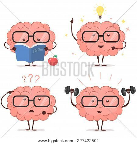Brain Cartoon Set With Glasses, Book, Dumbbells, Light Bulb On White Background, Human Train Intelle