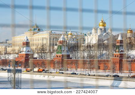 Moscow, Russia, February 01, 2018: Embankment Of The Moscow River, View Of The Kremlin Wall, Towers