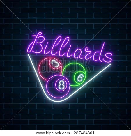 Glowing Neon Signboard Of Bar With Billiards On Brick Wall Background. Night Advertising Symbol Of T