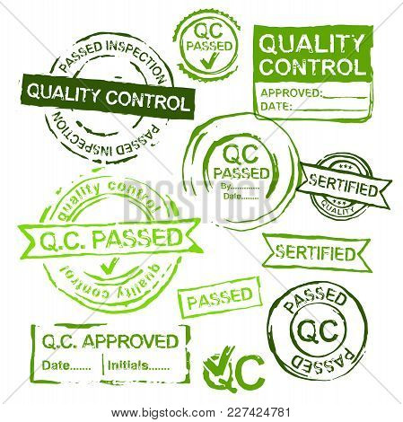 Quality Control Stamps In Differeint Shapes. Vector Illustration In Green Colors Isolated On A White