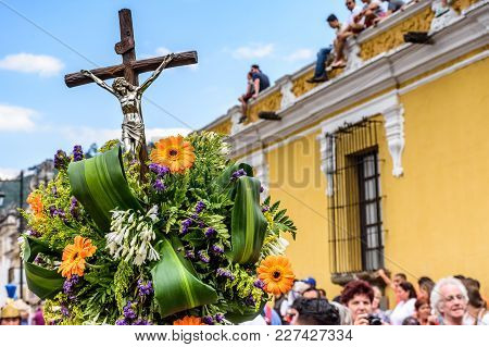 Antigua, Guatemala -  April 13, 2017: Closeup Of Crucifix Detail In Holy Thursday Procession In Town