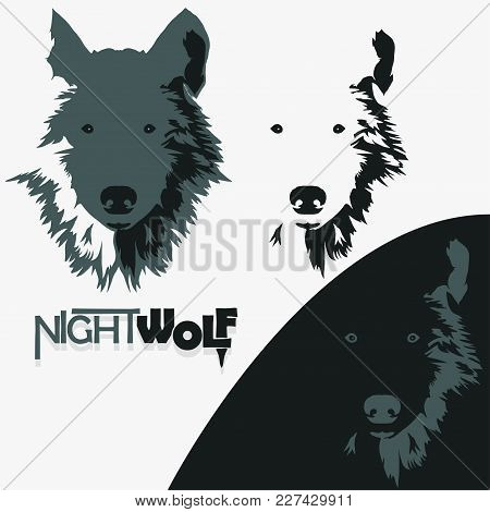 Wolf Bolt Emblem, Mascot Head Silhouette, Sport Logotype. Template For Business Or T-shirt Design. V