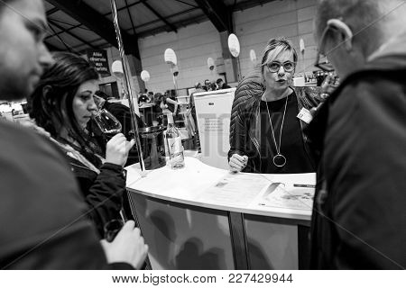 Strasbourg, France - Feb 19, 2018: Friends Tasting And Buying French Wine At The Vignerons Independa