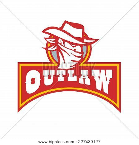 Retro Style Illustration Of A Cowboy Outlaw Or Bandit Wearing Bandana Covering His Face With Banner