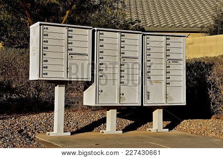 Collection Of Mailboxes In A New Suburban Housing Development