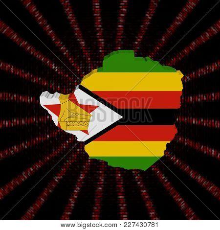 Zimbabwe map flag on red hex code burst 3d illustration