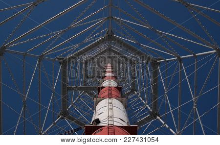 Russia, St. Petersburg, March 17 2011: Broadcasting Tv Tower, View From The Bottom
