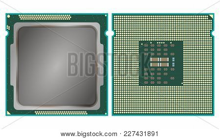 The Modern Computer Core Processing Unit Cpu, Front And Back Face, Isolated On White Background.