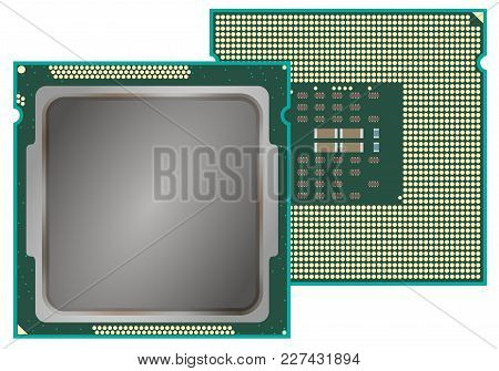 Modern computer core processing unit CPU, front and back face, isolated on white background.