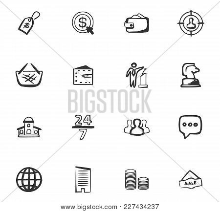 Doodle Business Icons Set For Website Design