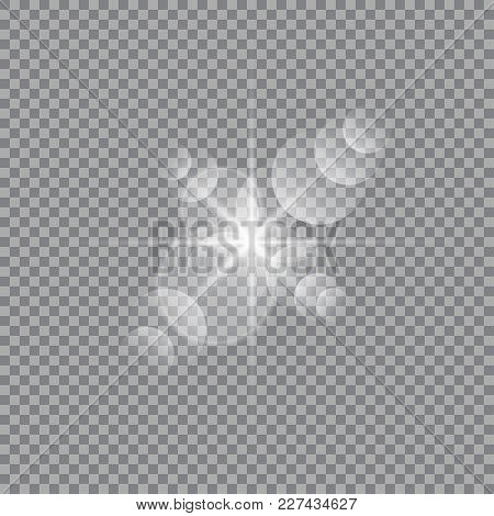 Vector Transparent Sun Flash With Rays And Spotligh. Sunlight Special Lens Flare Light Effect. Abstr