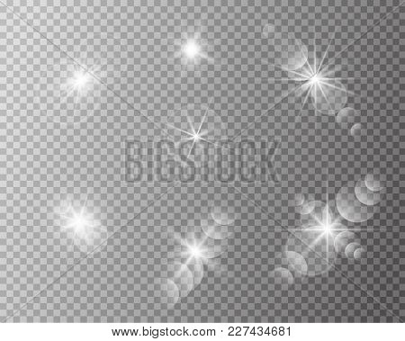 Set Of Vector Transparent Sun Flash With Rays And Spotligh. Sunlight Special Lens Flare Light Effect