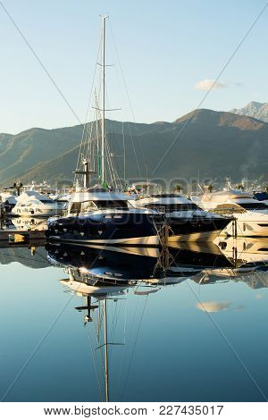 Luxury Yachts Moored To The Pier In The Marina