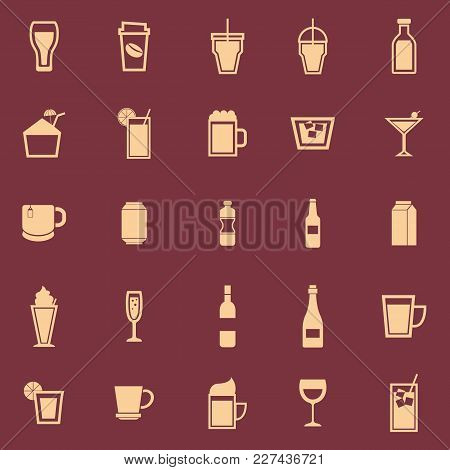 Beverage Color Icons On Red Background, Stock Vector