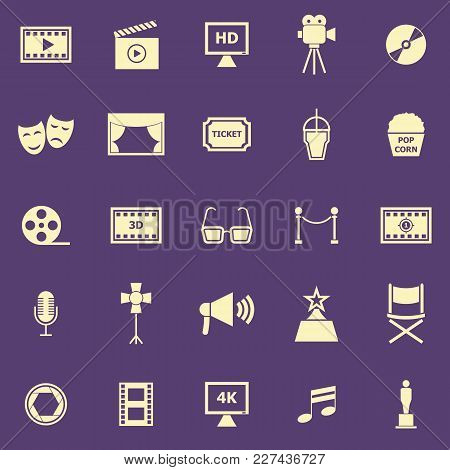 Movie Color Icons On Purple Background, Stock Vector