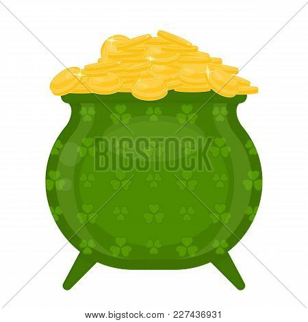 Cauldron With Gold Coins And Clover Shape