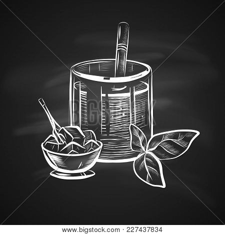 Sketch Illustration Of Glass With Straw, Mint Leaf And Ice Bowl. Hand Drawn Icon On Blackboard. Real