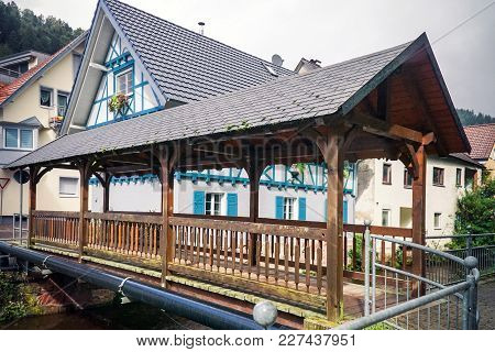 Oppenau In The Renchtal With Covered Wooden Bridge