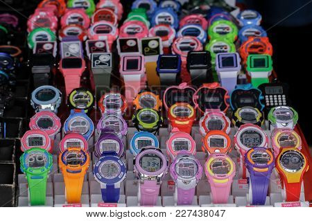 Kudat,sabah,malaysia-feb 3,2018:view Of Counterfeit Watch  Sale In The Local Market Known As Tamu In