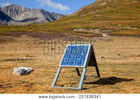 Portable solar panel system absorbing sunlight generating electricity for a ger in Altai Mountains Mongolia