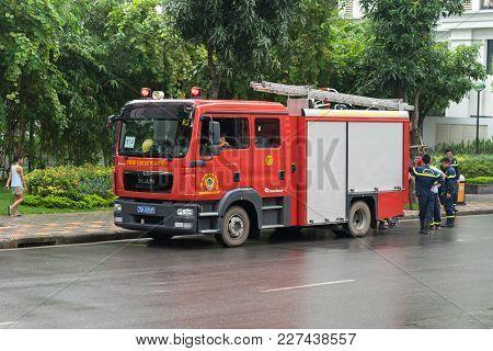 Hanoi, Vietnam - Oct 19, 2016: Fire Truck At Times City, Minh Khai Street