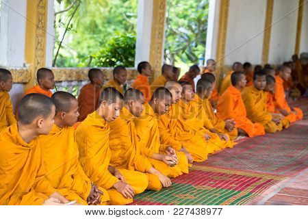 An Giang, Vietnam - Dec 6, 2016: Young Monks In Temple At Ordination Ceremony That Change The Vietna