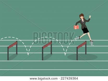 Business Woman With Elastic Spring Shoes Jumping Over Hurdle. Business Concept
