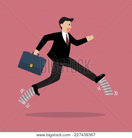Businessman Wearing A Elastic Spring Shoes. Business Concept