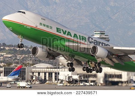 Los Angeles, California, Usa - March 10, 2010: Eva Airways (eva Air Cargo) Boeing 747 Cargo Aircraft