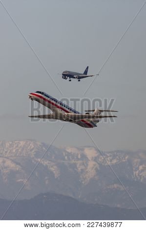 Los Angeles, California, Usa - March 10, 2010: American Eagle Airlines Embraer Erj-140 Aircraft Taki