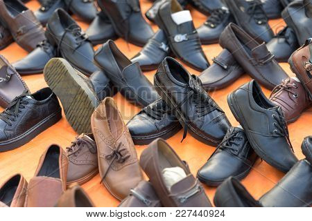 Hanoi, Vietnam - Oct 11, 2016: : Various Type Of Cheap Shoes For Sale On Hanoi Street