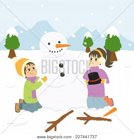 Two Happy Kids Building Snowman On Snowy Winter Day Cartoon Vector