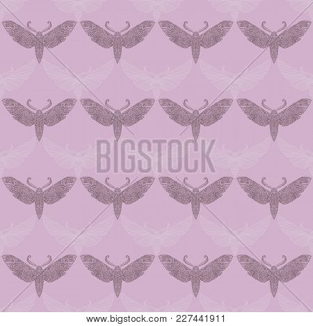 Night Moth In Mandala Style. Violet Background With Butterfly. Vector Insects Seamless Pattern