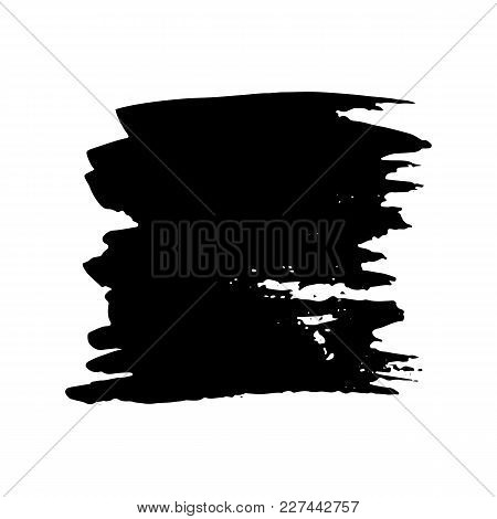 Ink Vector Dry Brush Stroke. Vector Illustration. Grunge Hand Drawn Watercolor Texture. Space For Te