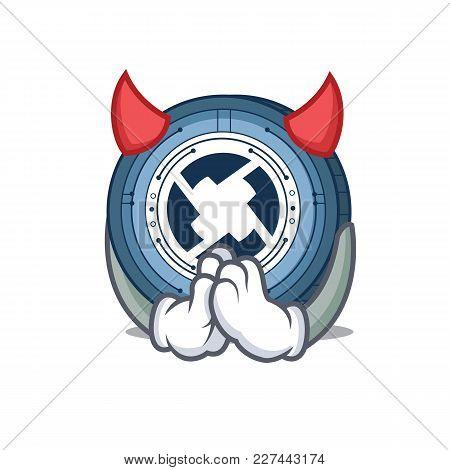 Devil 0x Coin Mascot Cartoon Vector Illustration