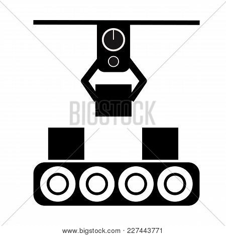 Automated Production Line Icon On White Background. Production Line Sign. Flat Style.