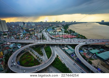 Hanoi, Vietnam - June 5, 2017: Aerial View Of Hanoi Cityscape By Twilight Period, With Road Junction