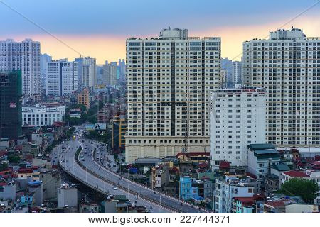 Hanoi, Vietnam - June 5, 2017: Aerial Skyline View Of Hanoi Cityscape By Twilight Period, With Minh