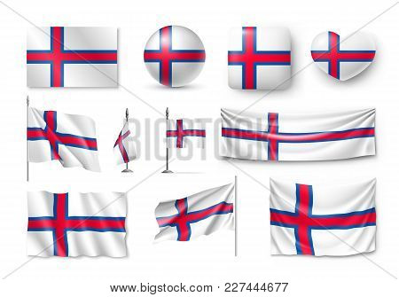 Set Faroe Island Flags, Banners, Banners, Symbols, Flat Icon. Vector Illustration Of Collection Of N