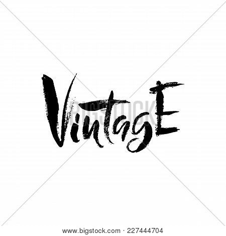 Vintage. Hand Drawn Dry Brush Lettering. Ink Illustration. Modern Calligraphy Phrase. Vector Illustr