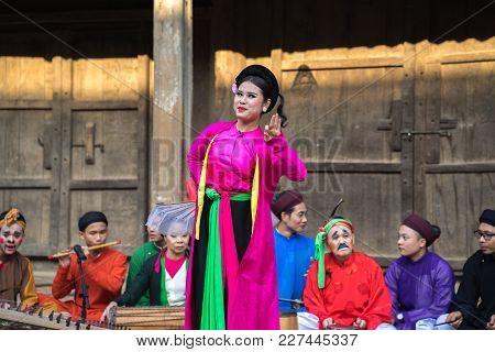 Hanoi, Vietnam - Jun 22, 2017: An Act Of Folk Music And Dance Called Thi Mau Visits Temple, The Most