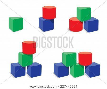 Set Of Geometry Blocks Combinations, Creative Toy Blocks. Vector Illustration Isolated On White Back