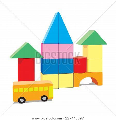 Baby Building Blocks, Creative Toy Blocks With Bus, Isolated On White Background