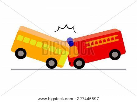 Creative Toy Blocks, Bus With Passengers Crashed A Fire Truck. Vector Illustration Isolated On White