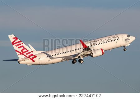 Sydney, Australia - May 5, 2014: Virgin Australia Airlines Boeing 737-800 Aircraft Taking Off From S