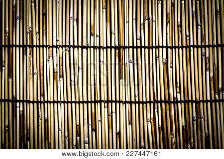 The Background Is Made Of Bamboo Mat Plate, Wooden Plate Mat.