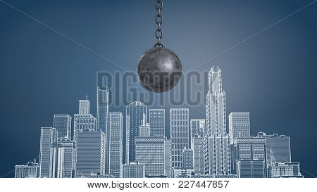 3d Rendering Of A Large Black Wrecking Ball Hangs Above A Chalk Drawing Of A City District With Many